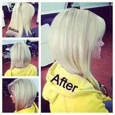 Long angled bob! Bright blonde @ashhill27