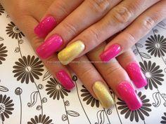 Acrylic overlay with pink and yellow gel polish