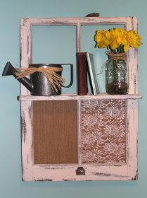 DIY Vintage Window Frame Shelf - via adventures of a middle sister