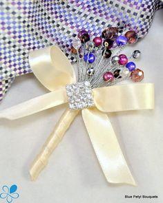 Jewel Blossom  Boutonniere - Blue Petyl Bouquets #wedding #bouquet