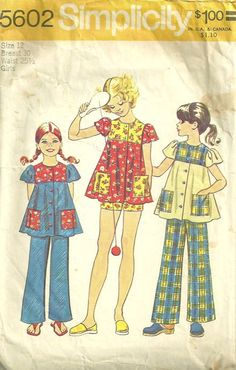 Simplicity 5602 1970s Girls Smock Top and Pants Pattern Childs Vintage Sewing Pattern by patterngate.com