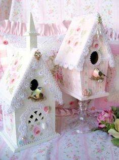 Birdhouses birdhouses, vintage chic, craft, shabbi chic, shabby chic, pink, birds, chic birdhous, bird hous