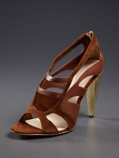 "Dominica Sandal L.A.M.B. : High heeled sandal in leather and suede with back zip. 4 1/2 "" heel."