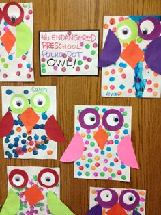 Polka dot owls; no link. Do you know the original link? Please post and I will amend. owl preschool theme, polka dots, projects for kindergarteners, dot owl, owl crafts preschool, owls kindergarten, owl craft preschool, simple kindergarten crafts