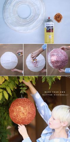 Make a glitter discoball from a paper lantern.