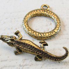 Pewter alligator toggle set, antique gold finish