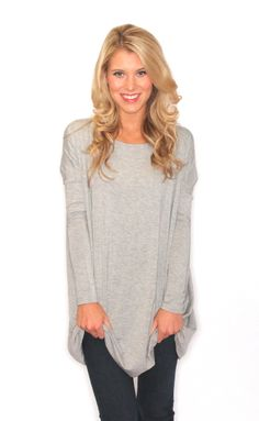 piko long sleeve tunic – heather grey