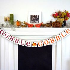 Thanksgiving Decorations Banner  Gobble Gobble by BannerCheerJR, $26.00