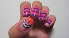 For mom cats, cheshir cat, cheshire cat, nail designs, nail art designs, alice in wonderland, nail arts, cat nail, finger nails