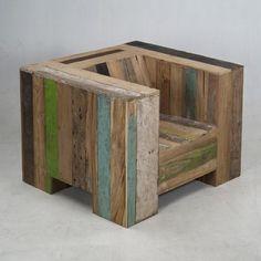 scrapwood garden chair, piet hein eek