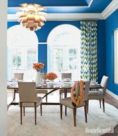 bold blue walls + ceiling