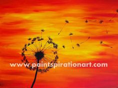 Dandelion Painting on Canvas 18x24 - Silhouette Red Orange Yellow Sunset Paintings - Colorful Artwork - Bright Art Nature Home Decor