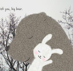 Bear Bunny Love Illustration Print Woodland Wedding Grey White Pastel Pink Home Wall Decor Forest Tree Brunch Nature Neutral Colors MiKa Art... print bear, origin illustr, illustrations, bears, big bear, illustr print, prints, bunni rabbit, bear bunni