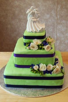 Blue + green wedding cake  ... #pale #pastel #emerald #mint #green #wedding ... #Budget wedding #ideas for brides, grooms, parents & planners ... https://itunes.apple.com/us/app/the-gold-wedding-planner/id498112599?ls=1=8 … plus how to organise a great wedding, with the money you have. ♥ The Gold Wedding Planner iPhone #App ♥