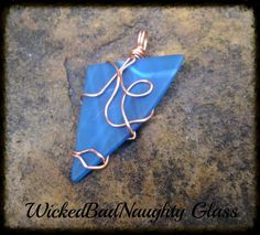 Recycled Turquoise Glass Wire Wrapped Pendant by wickedbadnaughty, $18.00