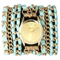 """The perfect accent for work apparel and casual weekend ensembles, this statement-making cuff watch showcases a gold-hued chain band with turquoise leather woven details.    Product: WatchConstruction Material: Alloy, stainless steel, leather and glassColor: Turquoise and goldFeatures:  Lobster claspGlass has a protective mineral coatingWraps around wrist three times Three chainsAccommodates: Battery - includedDimensions: Overall: 0.25"""" H x 20"""" W x 1"""" WFace: 1"""" DiameterCleaning and Care: ..."""