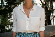 DIY: stud button silk shirt