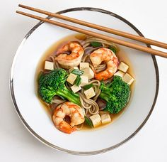 Soba Noodle Miso Soup with Broccoli, Shrimp and Tofu on http://www.wishfulchef.com