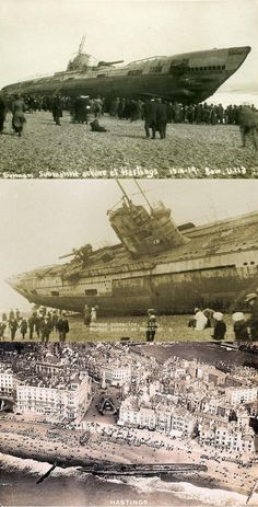 A beached German U-Boat, 1919. A collage of photos and an aerial view. Hastings. England.