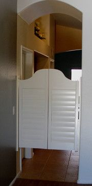 White Shutter Swinging Saloon Doors - Houzz  Like this shape for cardboard ones.