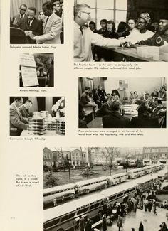 Athena yearbook, 1960. Students surround Dr Martin Luther King Jr at a conference that focused on technological upheaval, modern secularism, displaced people and advanced education.  :: Ohio University Archives