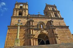 the Catholic church on the main square in Guane, Colombia