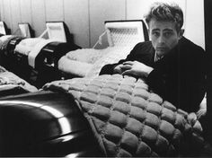 Dennis Stock photo of James Dean alive in a casket.