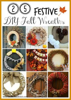 25 Festive DIY Fall Wreaths that anyone can make! From @ACultivatedNest