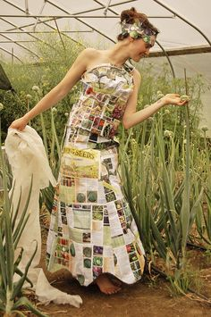 Our entry into Montpelier, VT's fashion show - the theme this year is agriculture. Dress is made of pages from old High Mowing Organic Seed Catalogs!