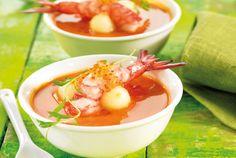 Las recetas de Blanca: Sopa de gambas con bolas de melón RECI