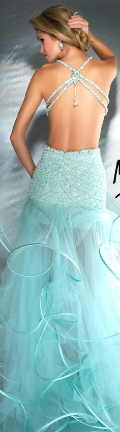 Mac Duggal couture dress cool mint #long #formal #dress #glitter MAC DUGGAL PROM STYLE 2687M BACK