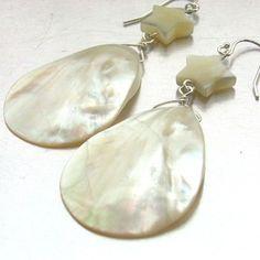 teardrop sterl, shells, shell star, sterling silver earrings, stars, earring 10003pp, sterl silver