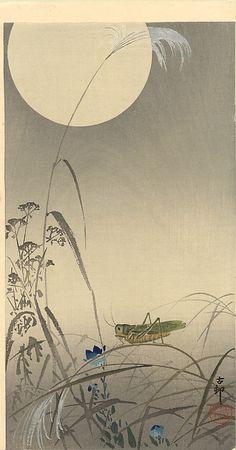 "Grasshopper & Moon | Tattoo Ideas & Inspiration - Japanese Art | Ohara Koson - ""Grasshopper & Fool Moon"" | #Japanese #Art #Grasshopper"
