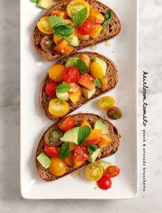 tomato, peach and avocado bruschetta