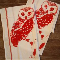 Set of 2  Red OWL Kitchen Dish Towels  Renewable by ZenThreads, $11.00