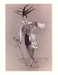Black & White Ascot Costume    Cecil Beaton's original costume sketch for My Fair Lady