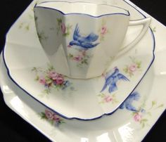 Shelley Queen Anne Blue Bird Cup and Saucer♥