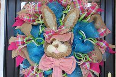 Deluxe Easter Bunny Wreath, Deco Mesh Easter Wreath, Spring Wreath, Bunny Wreath on Etsy, $89.00