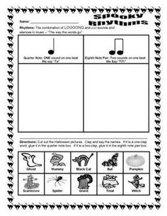 Spooky Rhythms - a rhythm activity for young elementary music students