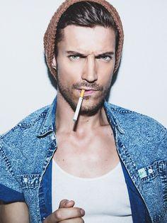 Djordje Bogdanovic bad boy, models male, djordj bogdanov, denim shirts, men fashion, beani, white male models, ray ban sunglasses, man models