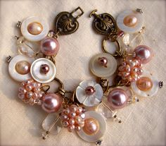 bead, mop button, pearl bracelets, button jewelry ideas, button bracelet