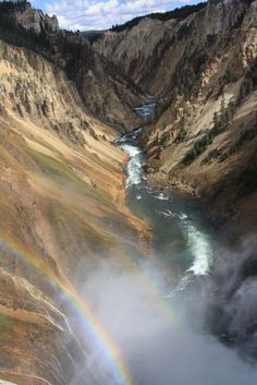 """Over the Rainbow.  Natures's Pot of Gold found at the Lower Falls in the """"Grand Canyon of Yellowstone"""""""