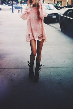 Frayed pink star jumper and boots x