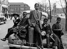 """""""The Defiant Ones"""" A group of African American boys lounging on the hood of a car on Easter morning, Southside, Chicago, Illinois, 1941. #africanamerican #blackhistory"""