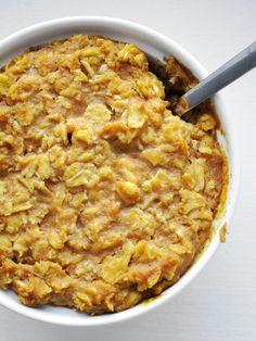 Baked Pumpkin Oatmeal: regular rolled oats, almond milk, pumpkin puree, vanilla extract, pumpkin pie spice, baking powder, pinch of salt