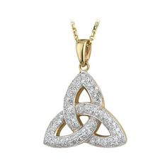 Trinity Knot Necklace 14K  Diamond Crusted Ireland  Price : $1,744.95 http://www.biddymurphy.com/Trinity-Necklace-Diamond-Crusted-Ireland/dp/B0052FA94U