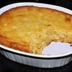 Jiffy Corn Casserole- 1 can whole kernel corn, 1 can cream style corn, 1 cup sour cream, 2 eggs, beaten, 1/2 cup melted butter, 1 8-oz box Jiffy corn muffin mix. Mix together and bake at 350 for 60min. Yummy and super easy.
