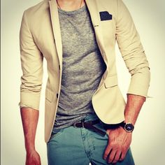 jacket with casual tshirt.