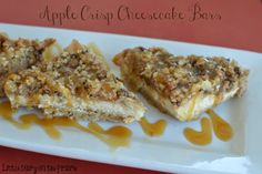 Spiced apples and cheesecake layered between apple crisp crust!