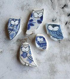 tiny porcelain owls